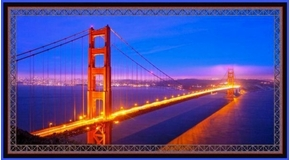 Artworks VII Golden Gate Bridge Digital 24x44 Cotton Fabric Panel