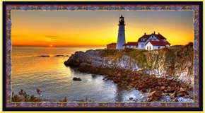 Picture of Artworks VII Lighthouse at Sunset Digital 24x44 Cotton Fabric Panel