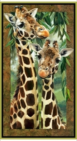 Picture of Artworks VII Giraffes Safari Giraffe Digital 24x44 Cotton Fabric Panel