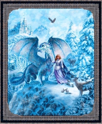 Picture of Artworks VI Magical Snow Dragon Digital 36x44 Cotton Fabric Panel