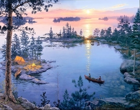Picture of Digital Sunrise Lake Camping Digital 34x44 Cotton Fabric Panel