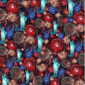 Picture of Artworks VII Statue of Liberty and Fireworks Digital Cotton Fabric