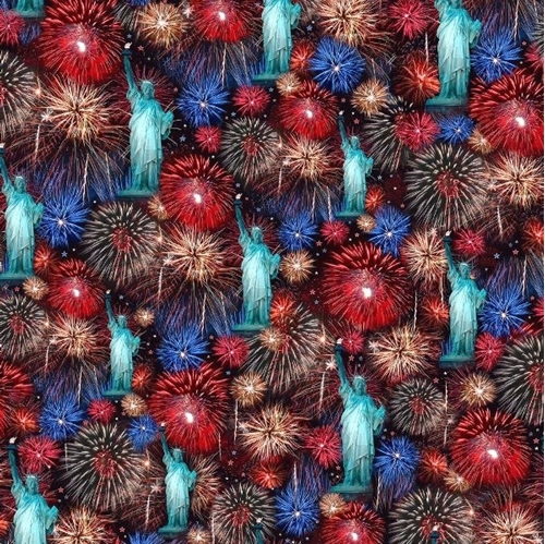 Artworks VII Statue of Liberty and Fireworks Digital Cotton Fabric
