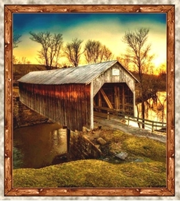 Picture of Artworks VII Covered Bridge Sunset 24x22 Cotton Fabric Pillow Panel