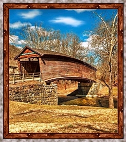 Picture of Artworks VII Covered Bridge Humpback 24x22 Cotton Fabric Pillow Panel