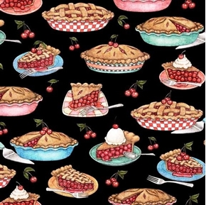 Picture of Home Sweet Home Cherry Pies Baked Pie Slices Black Cotton Fabric