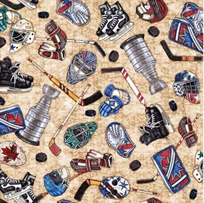 Face Off Everything Hockey Gear Stanley Cup Beige Cotton Fabric