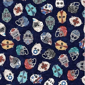 Picture of Face Off Hockey Helmets and Masks Dark Blue Cotton Fabric