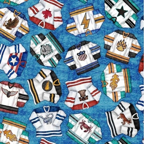 Face Off Hockey Jerseys Sport Jersey on Blue Cotton Fabric