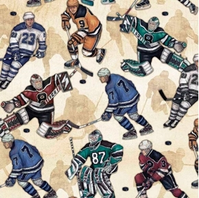 Picture of Face Off Hockey Players Playing on Beige Ice Cotton Fabric
