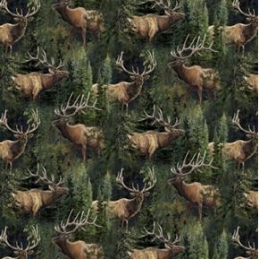 Picture of Wild Wings Lazy Afternoon Elk and Pines Cotton Fabric