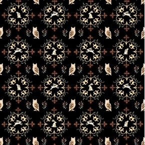 Picture of Where the Wise Things Are Owl Medallions Black Cotton Fabric