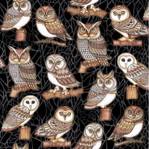 Picture of Where the Wise Things Are Owl One Way Black Cotton Fabric