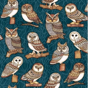 Picture of Where the Wise Things Are Owl One Way Dark Teal Cotton Fabric
