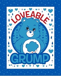 Picture of Care Bears Loveable Grump Blue Grumpy Bear Cotton Fabric Pillow Panel