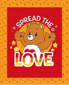 Care Bears Spread the Love Brown Tenderheart Bear Fabric Pillow Panel