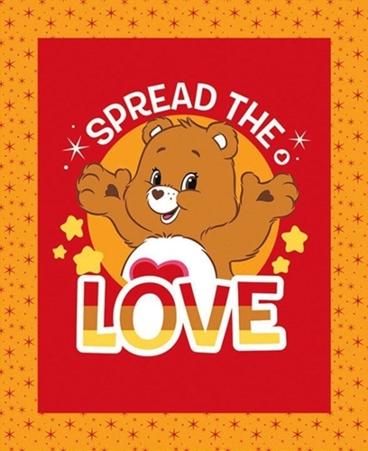 Picture of Care Bears Spread the Love Brown Tenderheart Bear Fabric Pillow Panel