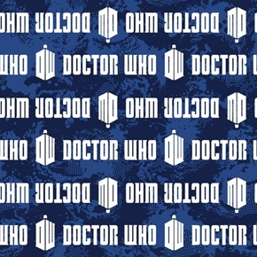 Picture of Doctor Who Logo Stripe Words and Tardis Blue Striped Cotton Fabric