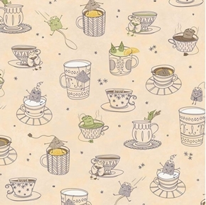 Tea-rrific Tea Cups Cups with Silly Tea Bags Beige Cotton Fabric