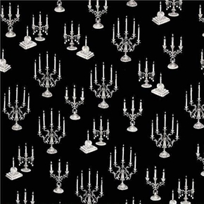 Picture of Fright Night Candelabras Candles Halloween White on Black Cotton Fabric