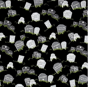 Picture of Fangtastic Glow in the Dark Tombstones Halloween Cotton Fabric