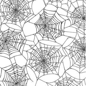Picture of Fright Night Spider Webs Halloween Web Black on White Cotton Fabric