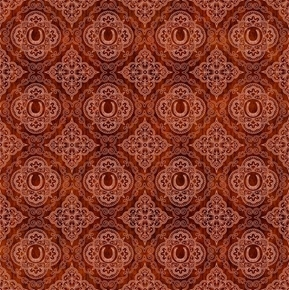 Picture of Unbridled Horseshoe Medallions Cowboy Rust Cotton Fabric