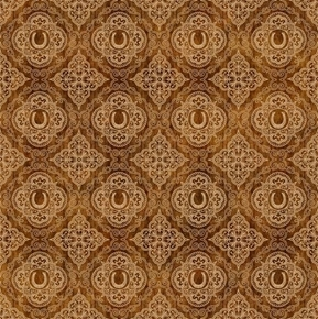 Picture of Unbridled Horseshoe Medallions Cowboy Straw Brown Cotton Fabric
