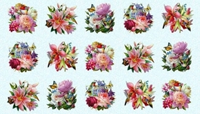 Hummingbird Bouquet Hummingbirds Vignettes Blue 24x44 Fabric Panel