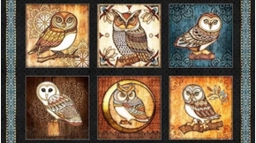 Picture of Where the Wise Things Are Owl Picture Patch 24x44 Cotton Fabric Panel