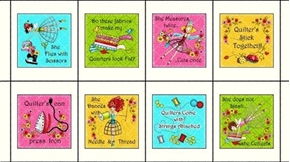 The Quilted Cottage Sewing Phrases Patch 24x44 Cotton Fabric Panel
