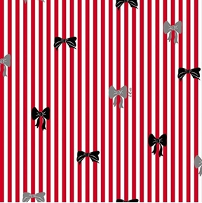 Picture of It's All About Me Bow Stripe Bows Red and White Stripe Cotton Fabric