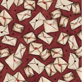 Picture of Letters From the Heart Envelopes Sealed with a Kiss Red Cotton Fabric