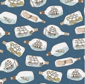 In Deep Ship Ships in Bottles Nautical Ocean Blue Cotton Fabric