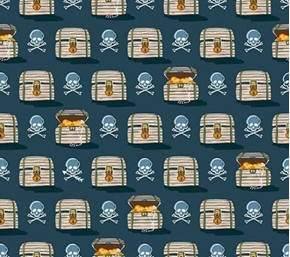 In Deep Ship Treasure Chests and Skulls Dark Ocean Blue Cotton Fabric