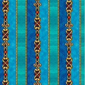 The Ten Commandments Decorative Stripe Blue and Gold Cotton Fabric