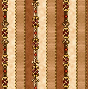 The Ten Commandments Decorative Stripe Tan and Gold Cotton Fabric