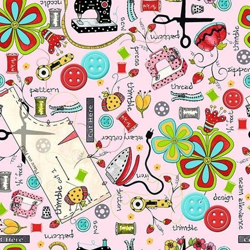 The Quilted Cottage Everything Sewing Notions Pink Cotton Fabric