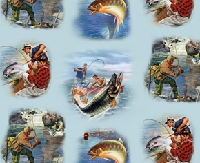 Picture of Sports Afield Fishing Fish Fisherman Vignettes Blue Cotton Fabric