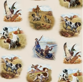 Sports Afield Hunting Dogs Pheasants Vignettes Cream Cotton Fabric