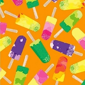 Picture of Endless Summer Ice Pops Popsicles Ice Cream on Orange Cotton Fabric