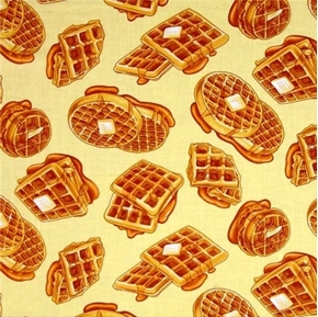 Picture of Rise and Shine Waffles Breakfast Club Buttered Waffle Cotton Fabric