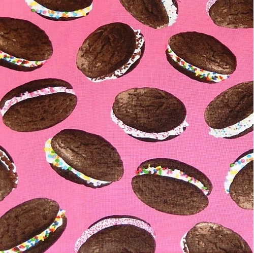 Sweet Tooth Makin Whoppie Cookies Whoppie Pies on Pink Cotton Fabric