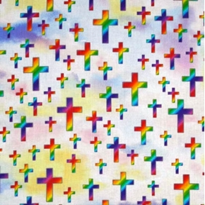 Picture of Sunday School Joyous Cross Rainbow Crosses Colorful Sky Cotton Fabric