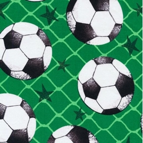 Allstars Sports Soccer Balls on Green Nets Cotton Fabric