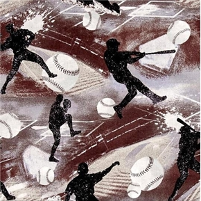 Allstars Sports Baseball Action Brown and Grey Cotton Fabric