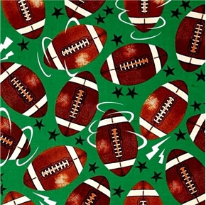 Picture of Allstars Sports Football Footballs and Stars Green Cotton Fabric
