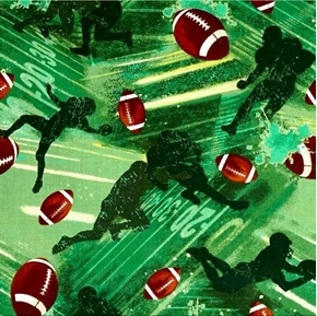 Allstars Sports Football Players and Footballs Green Cotton Fabric