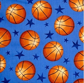 Picture of Allstars Sports Basketballs and Stars Blue Cotton Fabric