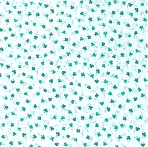 St Patricks Day Tiny Green Shamrocks on White Irish Cotton Fabric